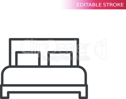 Bed or hotel sign thin line vector icon