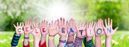 Children Hands Building Word Celebration, Grass Meadow