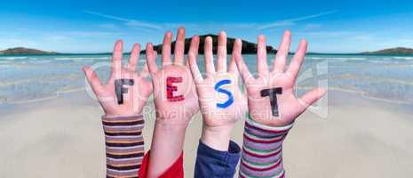 Children Hands Building Word Fest Means Celebration, Ocean Background