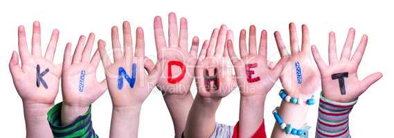 Children Hands Building Word Kindheit Means Childhood, Isolated Background