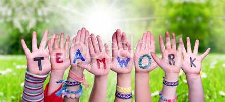 Children Hands Building Word Teamwork, Grass Meadow