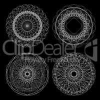 Circle lace ornament, round ornamental geometric pattern, black and white collection