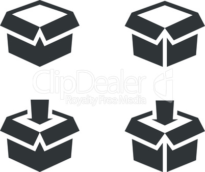 Open box or parcel with arrow