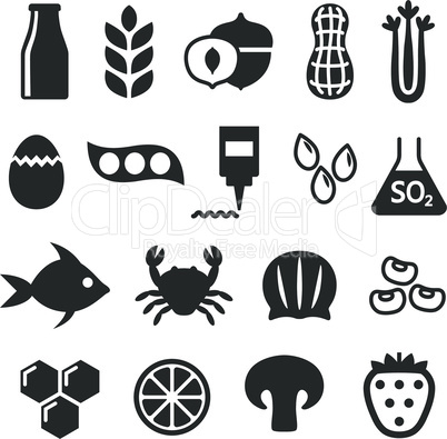 Black isolated food allergens icon set