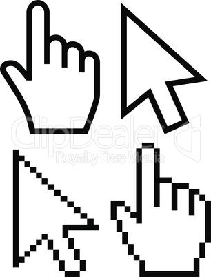 Mouse cursor vector icons. Hand cursor pointer icon