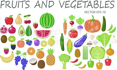 Colorful fruits and vegetables clipart set