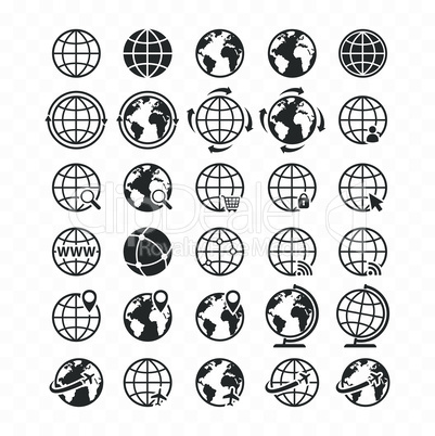 Globe web icon set