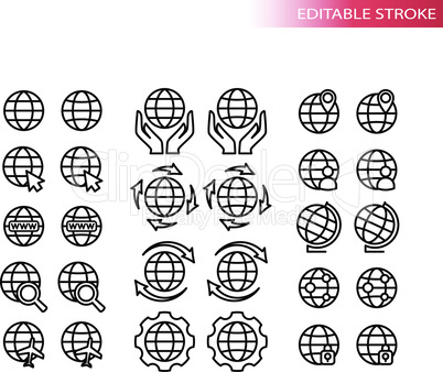 Globe, sign for website thin line vector icon set