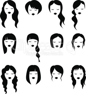 Female haircut silhouette black vector set