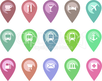 Location pin pointer vector set with cafe, restaurant, hotel, bus icons