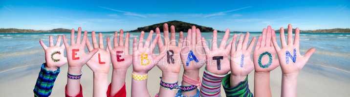 Children Hands Building Word Celebration, Ocean Background
