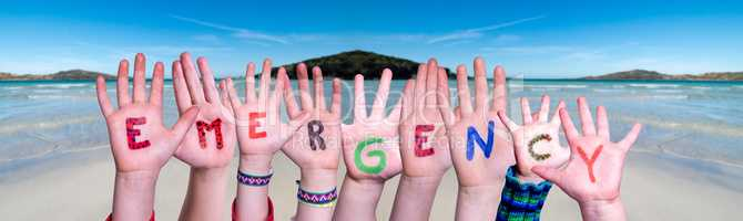 Children Hands Building Word Emergency, Ocean Background