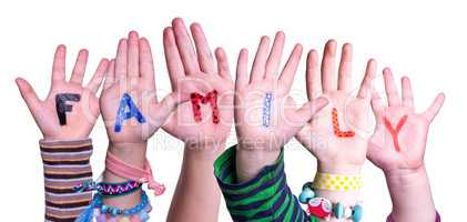 Children Hands Building Word Family, Isolated Background