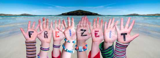 Children Hands Building Word Freizeit Means Leisure, Ocean Background