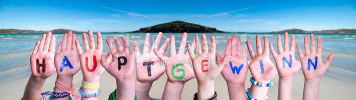 Children Hands Building Word Hauptgewinn Means Frist Prize, Ocean Background