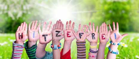 Children Hands Building Hitzefrei Means Free Due To Excessive Heat, Grass Meadow