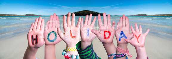 Children Hands Building Word Holiday, Ocean Background