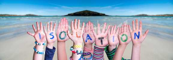Kids Hands Holding Word Isolation, Ocean Background