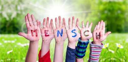 Children Hands Building Word Mensch Means Human, Grass Meadow