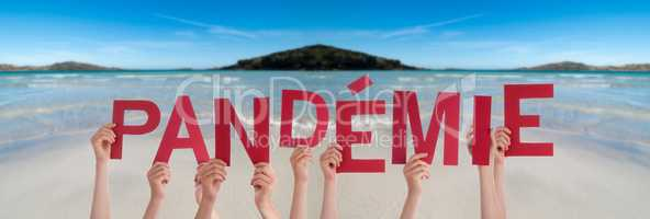 People Hands Holding Word Pandemie Means Pandemic, Ocean Background
