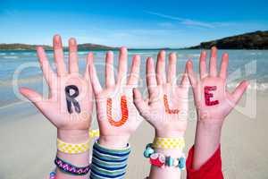Children Hands Building Word Rule, Ocean Background