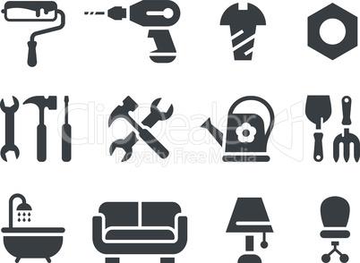 Hardware store, home improvement shop or DIY icon set.
