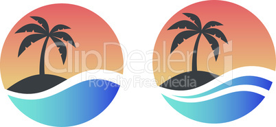 Palm, tropical island and sea or ocean wave in circle logo design.