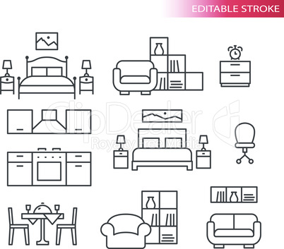 Furniture interior home design thin line icon set