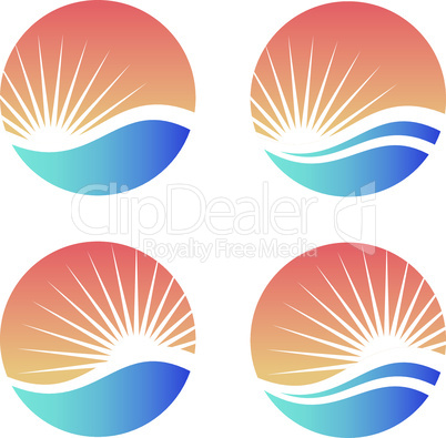 Sun and sea or ocean wave in colorful circle logo design