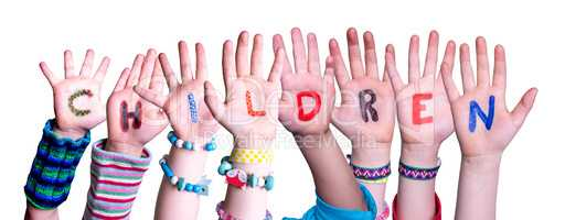 Children Hands Building Word Children, Isolated Background