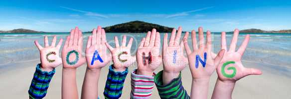 Children Hands Building Word Coaching, Ocean Background