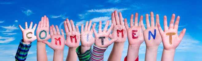 Children Hands Building Word Commitment, Blue Sky