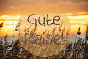 Beach Grass At Sunrise Or Sunset, Text Gute Reise Means Good Trip