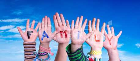 Children Hands Building Word Family, Blue Sky