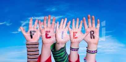 Children Hands Building Word Feier Means Celebration, Blue Sky