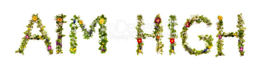 Flower And Blossom Letter Building Word Aim High