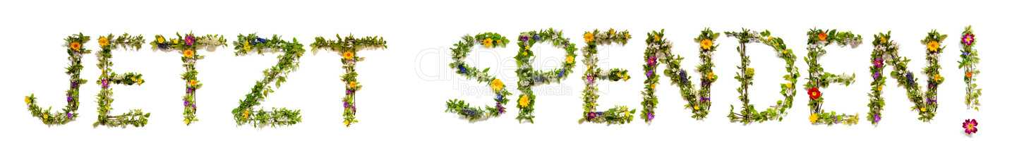 Flower And Blossom Letter Building Word Jetzt Spenden Means Donate Now