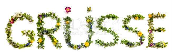 Flower And Blossom Letter Building Word Gruesse Means Greetings