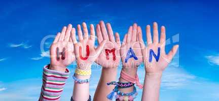 Children Hands Building Word Human, Blue Sky