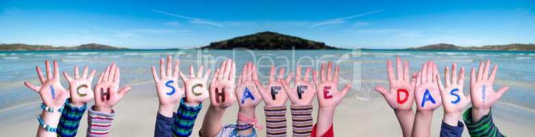 Children Hands Building Word Ich Schaffe Das Means I Can Do It, Ocean Background
