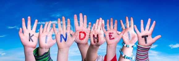 Children Hands Building Word Kindheit Means Childhood, Blue Sky