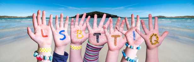 Children Hands Building Word LSBTTIQ Means LSBTQ, Ocean Background