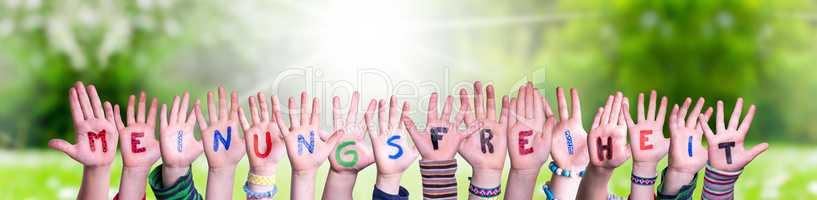Children Hands Building Meinungsfreiheit Means Freedom Of Opinion, Grass Meadow