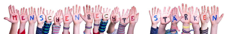 Children, Menschenrechte Staerken Mean Strengthen Human Rights, White Background
