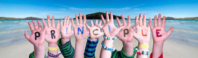 Children Hands Building Word Principle, Ocean Background