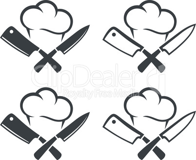 Kitchen knives or cleaver crossed with chef cap
