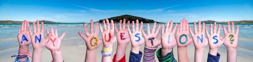 Children Hands Building Word Any Questions, Ocean Background