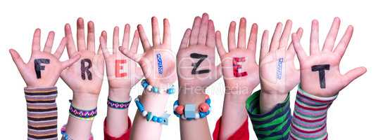 Children Hands Building Word Freizeit Means Leisure, Isolated Background