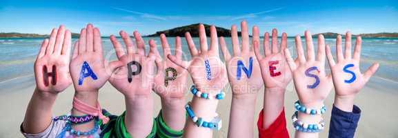 Children Hands Building Word Happiness, Ocean Background