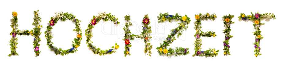 Flower And Blossom Letter Building Word Hochzeit Means Wedding